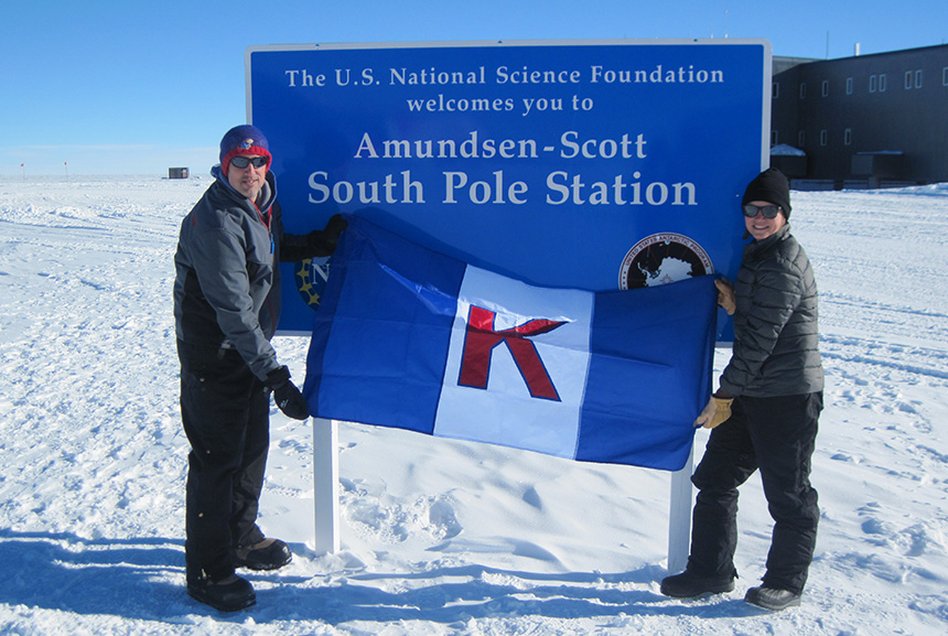 KU engineering professors Carlton Leuschen and Emily Arnold on a NASA deployment in Antarctica in 2017.